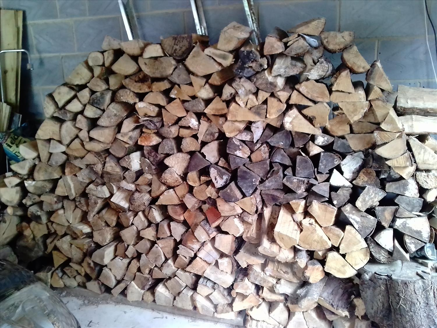 Logs stacked for winter guests